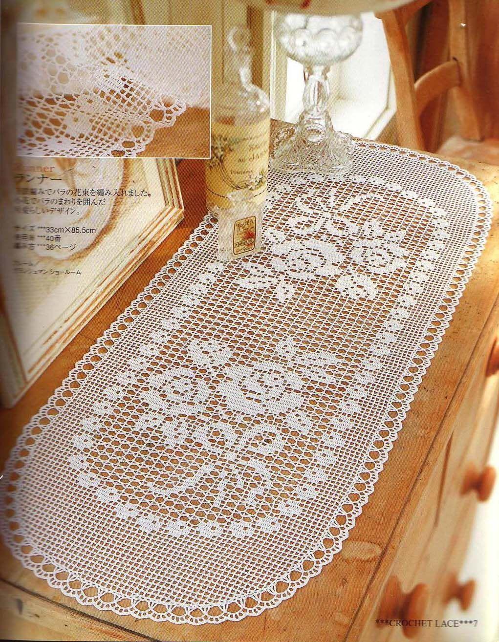 Croche maravilha de arte caminho de mesa lindo com for Caminos para mesas redondas
