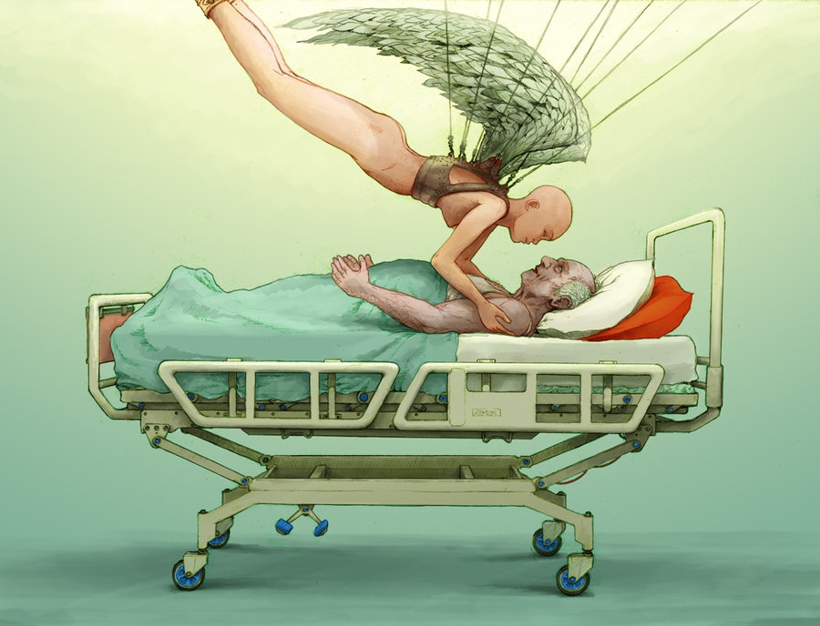 Female Angel Visits Man In Hospital Bed