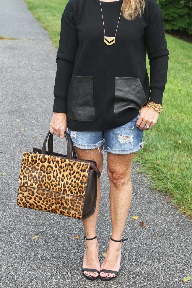 distressed jeans shorts, boden leopard bag, steve madden heels