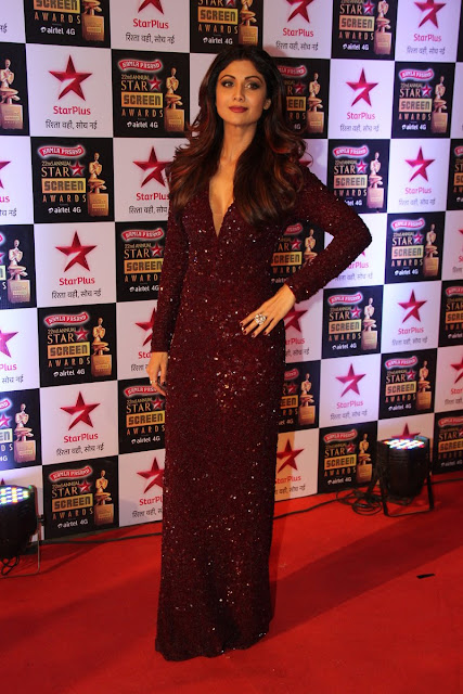 Shilpa Shetty Sizzled in Marsala Sequins Gown At Star Screen Awards 2016