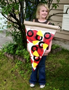 pizza slice costume made with Duct Tape