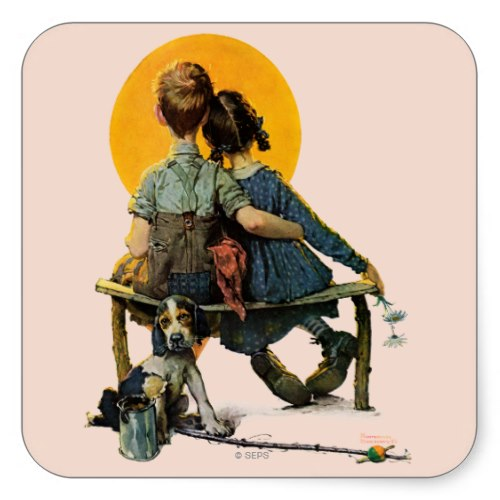 A Boy, a Girl, and a Sunset   Beautiful Romantic Caricature Sticker