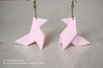origami boucles d 'oreille cocotte tissu bijoux poétiques romantiques vanessa lekpa evanescente créations