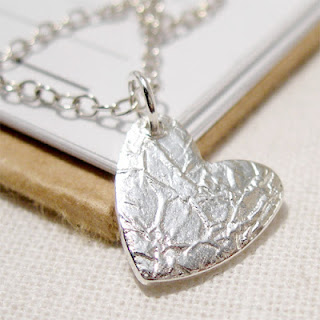 Silver Crushed Silk Heart Charm Pendant Necklace