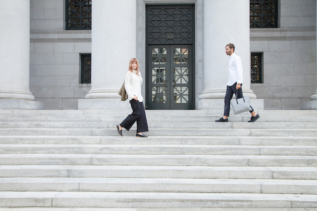 Bryn Newman of Stone Fox Style and boyfriend Rob Schanz (photographer) wear structured and simplistic looks by Everlane in San Francisco