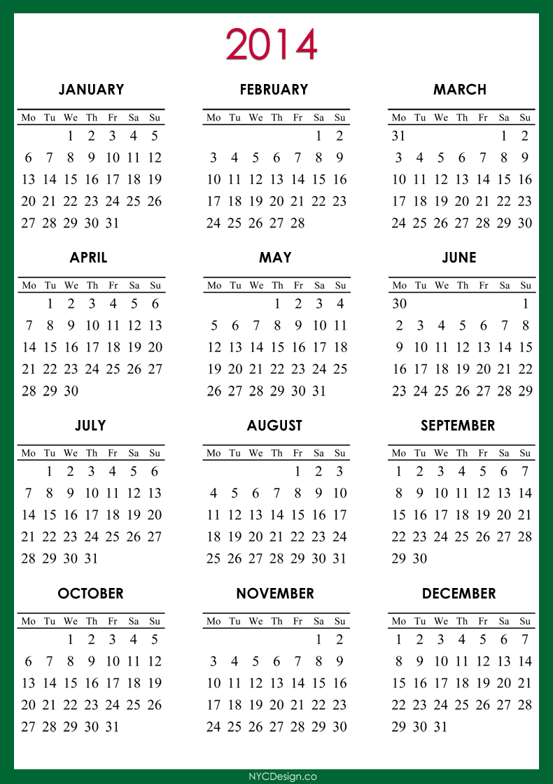 ... , NY: 2014 Calendar Printable - Green, Red, Purple, Blue, Navy Blue
