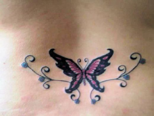 Butterfly Tattoo Design for Lower Back