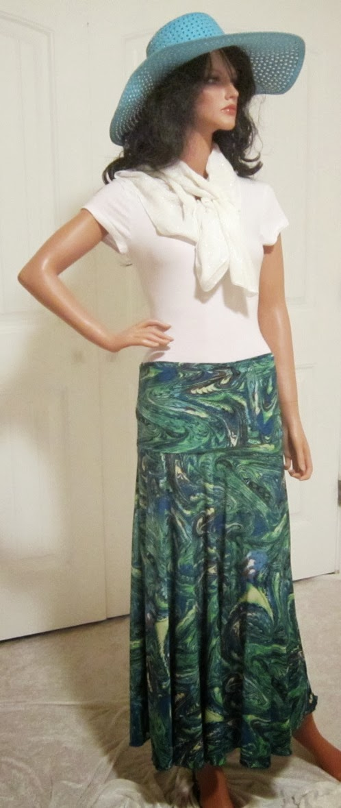 Ladies Cool Green and Blue Abstract Print Strech Knit Jersey Maxi Skirt