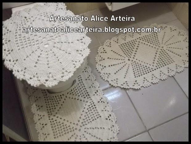 Artesanato Alice Arteira  Jogo de banheiro de crochê # Jogo De Banheiro Simples Em Croche Passo A Passo