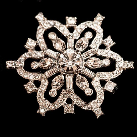 Antique Snowflake Rhinestone Pin