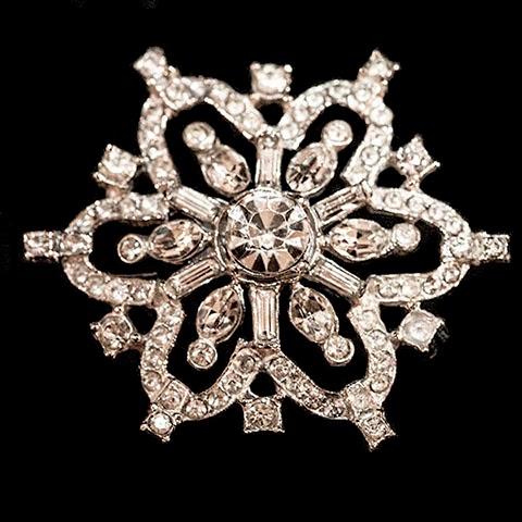 Antique Snowflake Rhinestone Pin