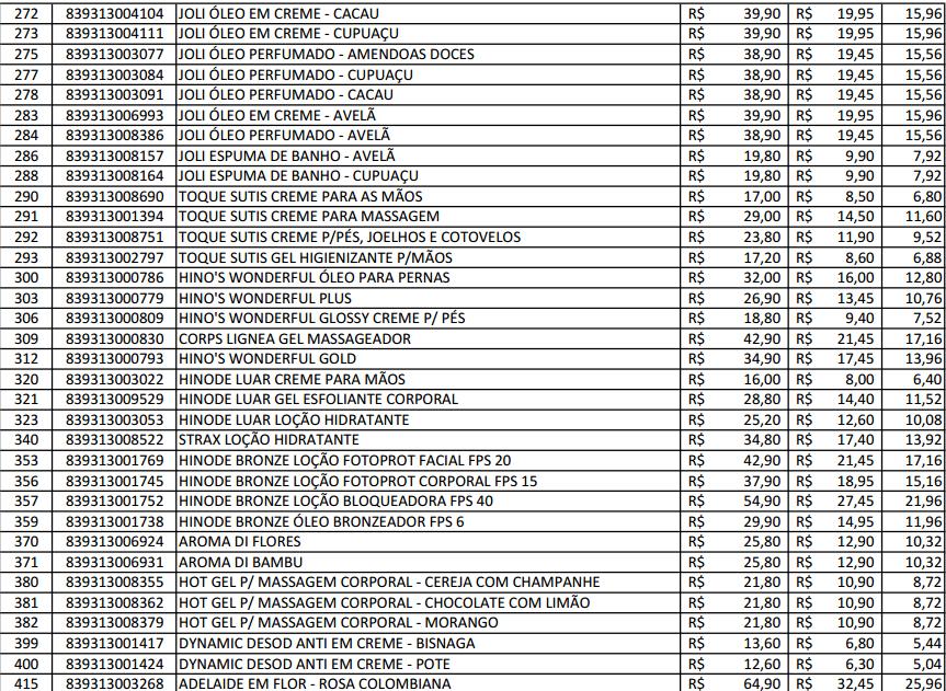 Populares Produtos Hinode Cosméticos: Tabela de preço hinode JR16