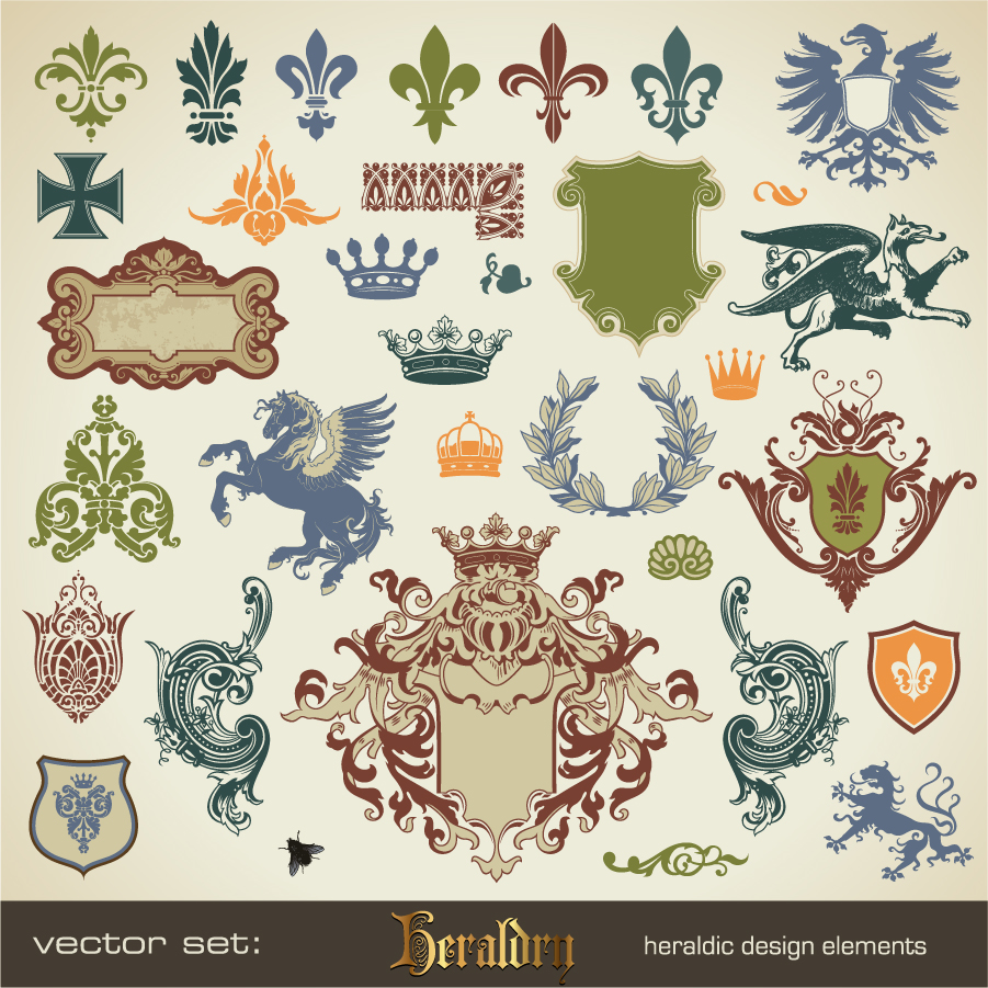 free vector がらくた素材庫: 紋章デザインのクリップアート heraldic