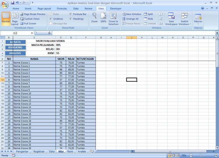 Ketuntasan - Analisis Soal Isian dengan Microsoft Excel
