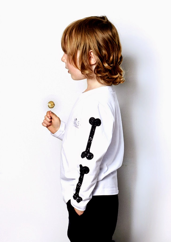 edgy hand drawn bones print by Ruff and Huddle for spring 2014 kids clothing collection