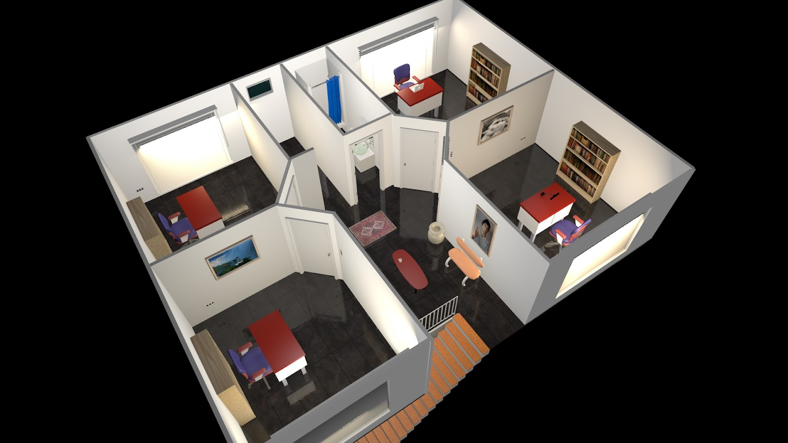 Animacion render 3d proyecto piso de oficinas en av for Proyecto oficina