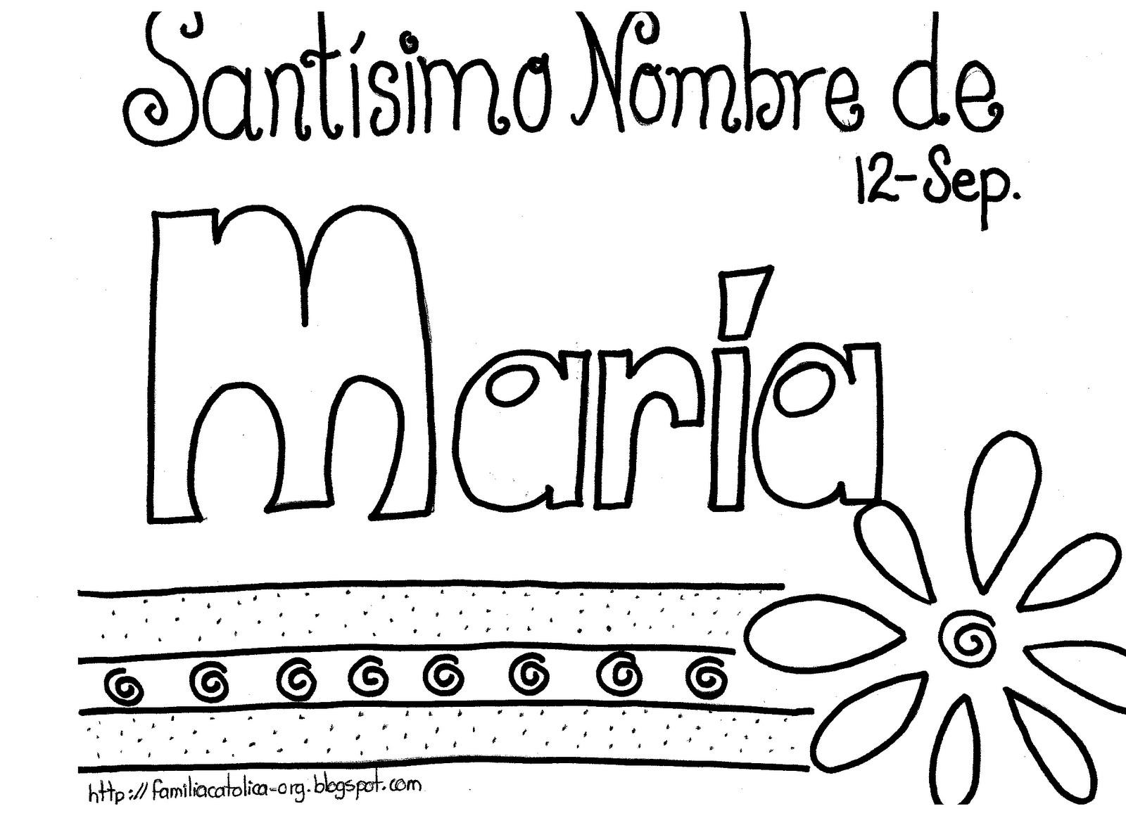 Familia Católica: Santisimo Nombre de María: Páginas para colorear