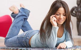 Mood Smile Girl Lying Talking on The Phone Joy Love HD Wallpaper