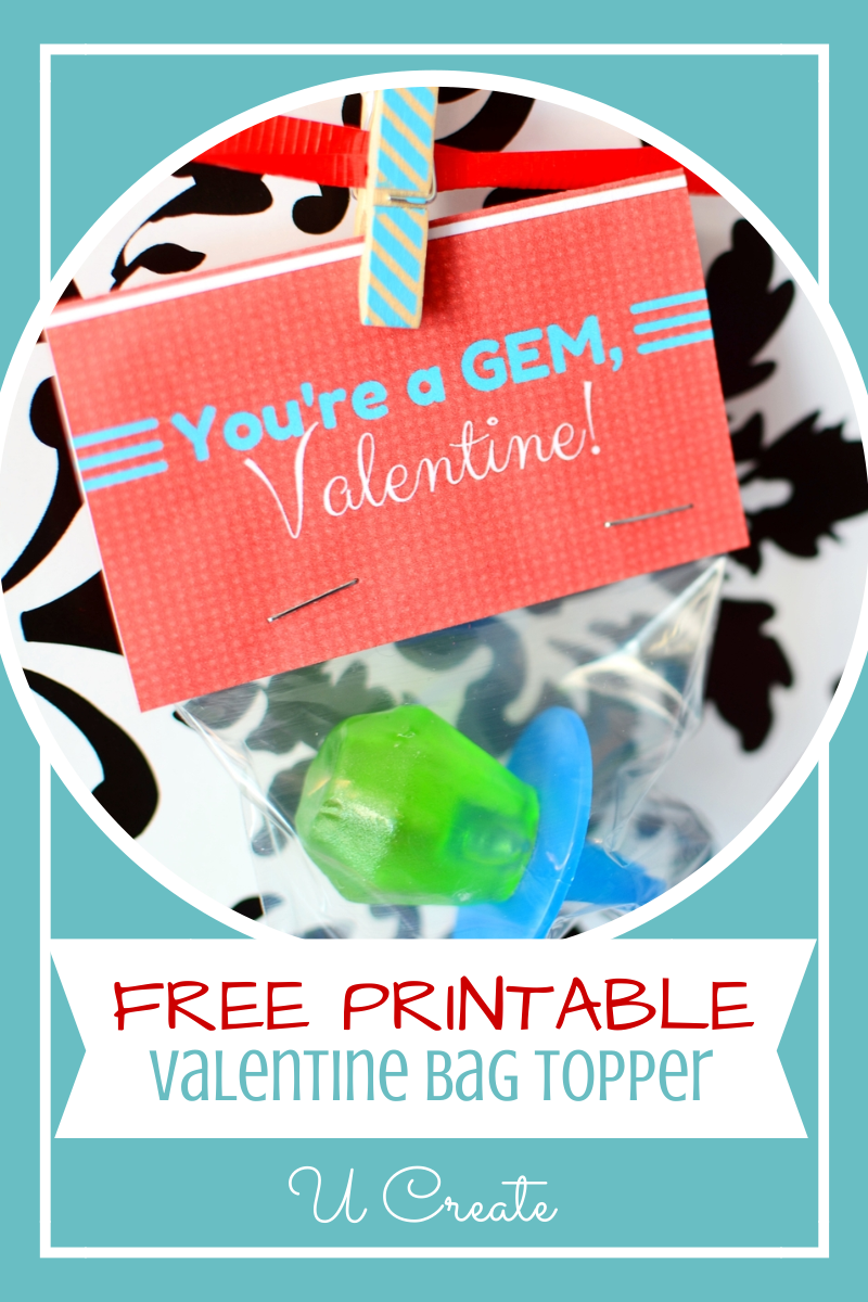 "Valentine Ring Pop Printables - ""You're a GEM!"" at u-createcrafts.com"