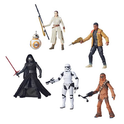 "Star Wars: The Force Awakens The Black Series Wave 1 - ""Jakku"" Finn, ""Jakku"" Rey with BB-8, Kylo Ren, Chewbacca & First Order Stormtrooper"