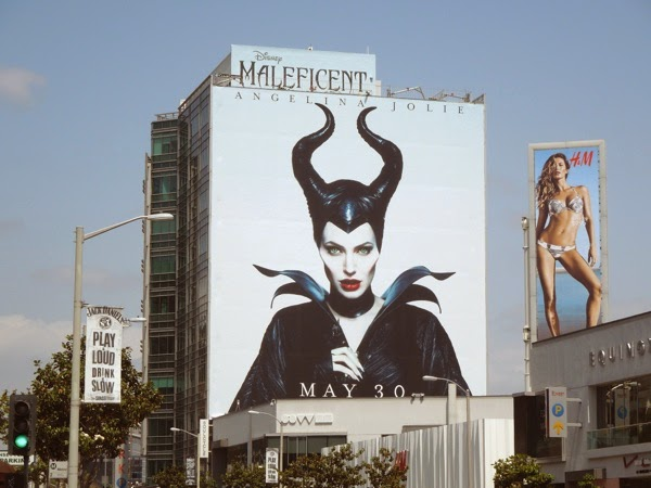 Giant Maleficent movie horns billboard