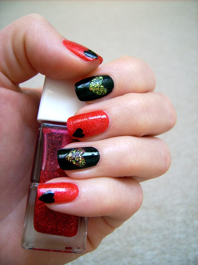 glitter heart nail art, nail art valentine's day