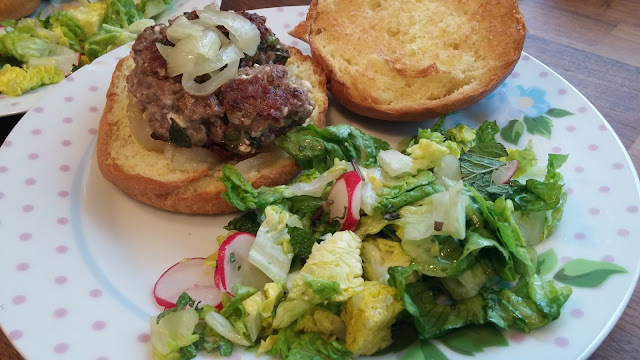 Minted Lamb and Feta Burgers with a crunchy summer salad