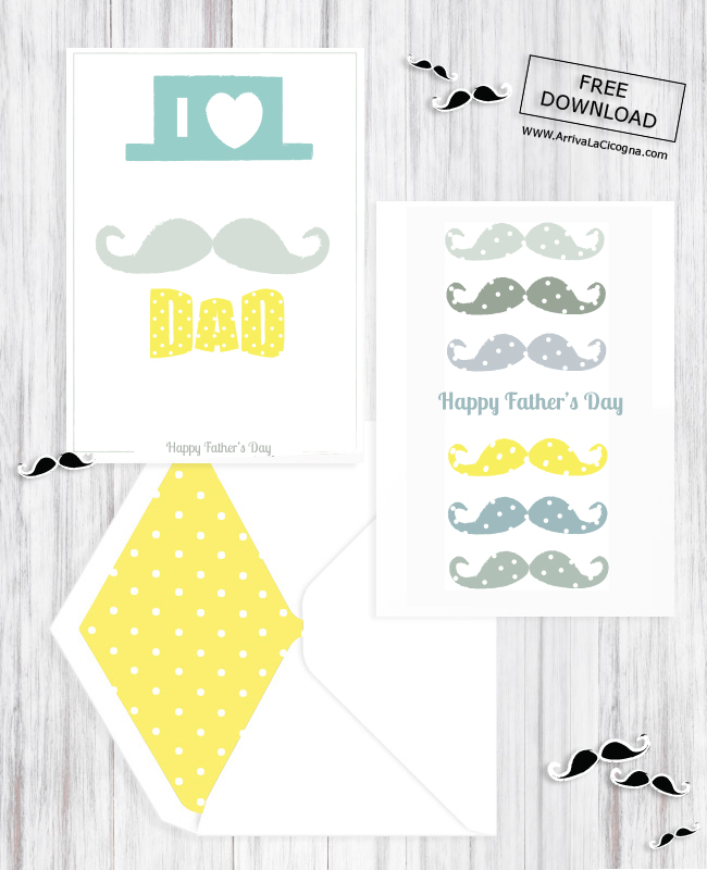 father day printable moustache card