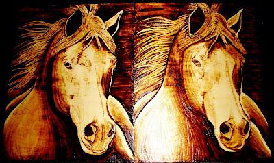 cavalo em pirogravura
