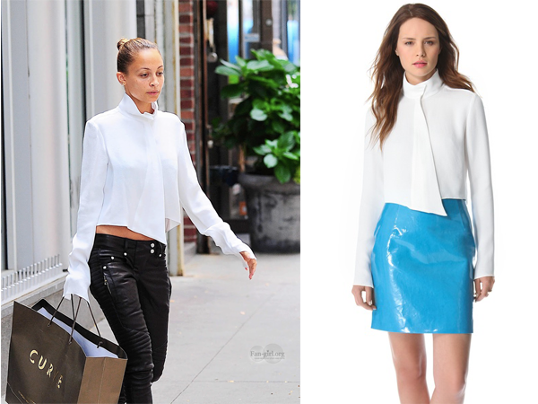 Mugler White Cropped Button Blouse 96