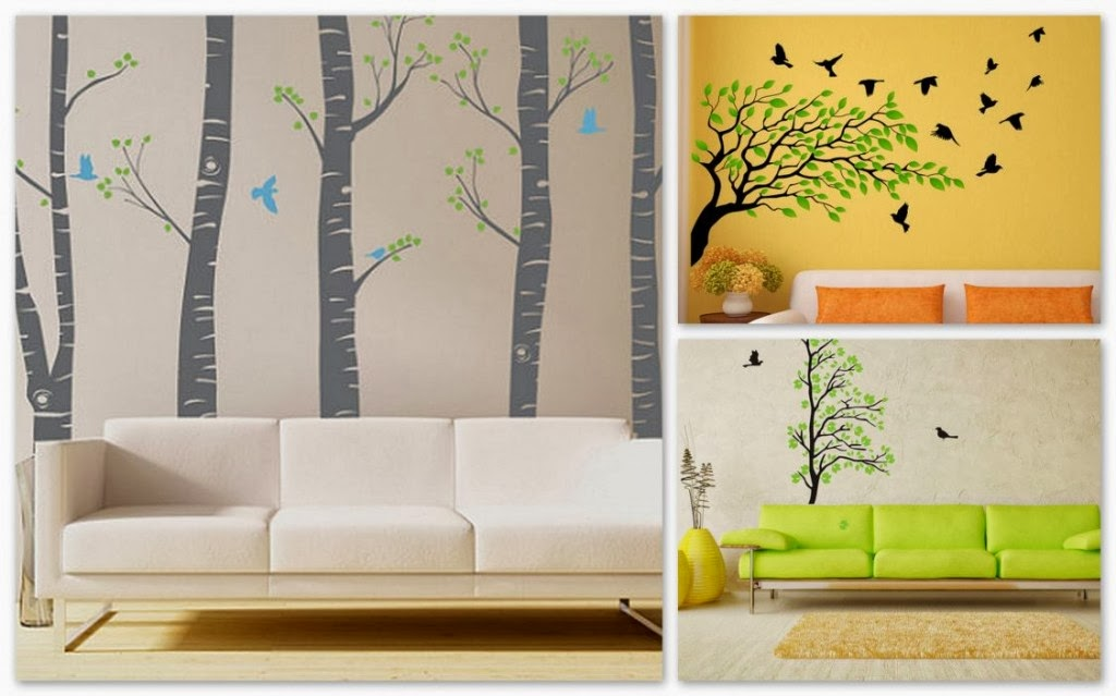 d coration salon avec des stickers muraux modernes d coration salon d cor de salon. Black Bedroom Furniture Sets. Home Design Ideas