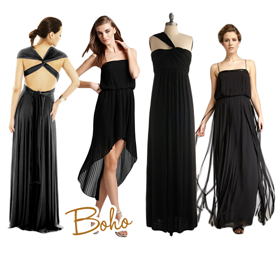 Boho Black Bridesmaids Dresses
