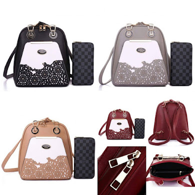 BACKPACK ( 2 IN 1 SET ) - BLACK , GREY , KHAKI , MAROON