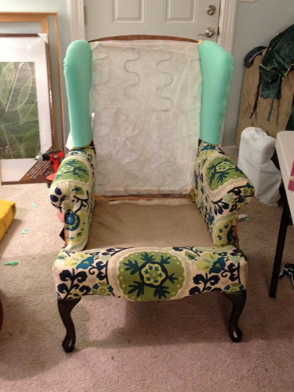 make bake and love: Re-Upholstering a Wing Back Chair ...