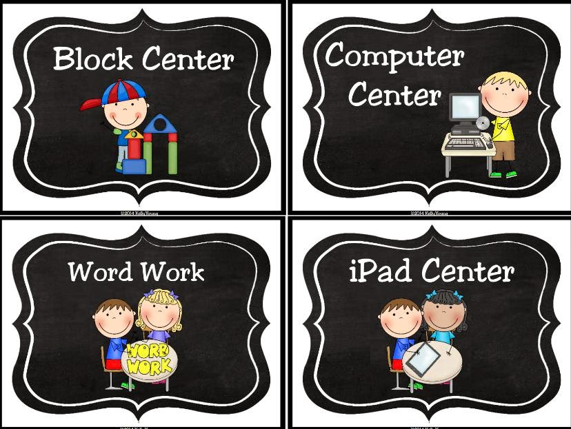 http://www.teacherspayteachers.com/Product/Chalkboard-Learning-Center-Signs-and-Labels-1346851