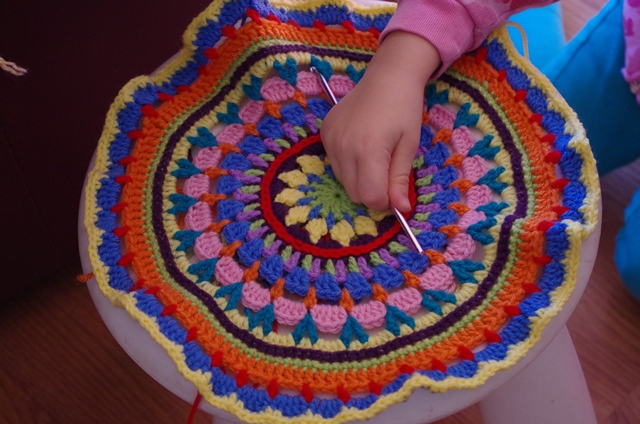 Crochet Mandala Stool Cover