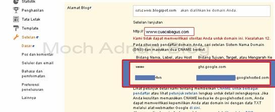 Cara Kustom Domain Di Blogspot