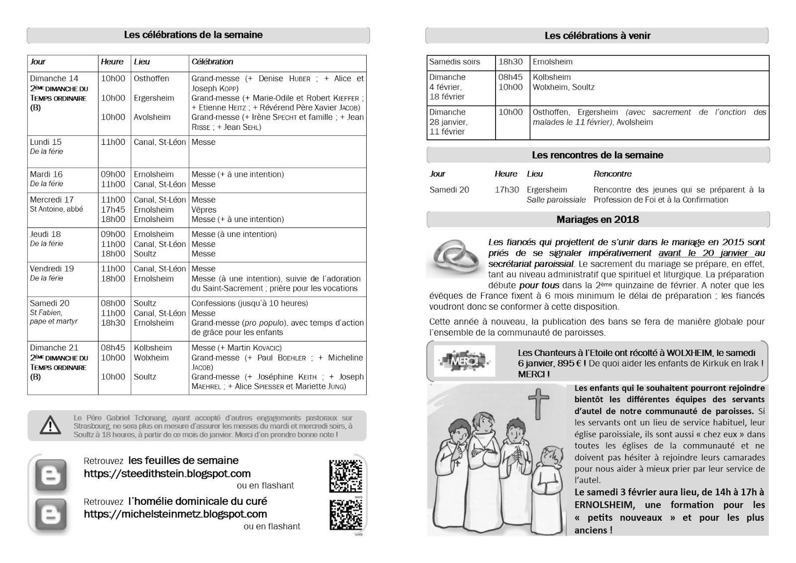 Communaut de paroisses sainte edith stein semaine du 14 au 21 janvier 2018 - Jeudi de l ascension 2018 ...