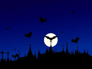 Night Moon Bats Scary Halloween Wallpaper