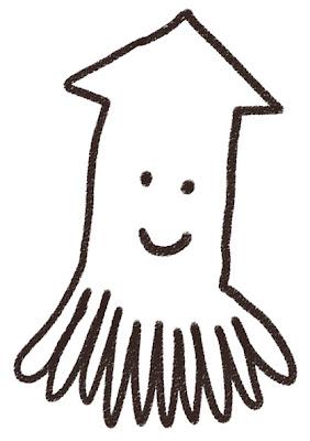 イカのイラスト(動物) 白黒線画