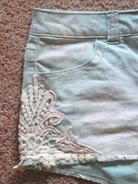 denim shorts with crochet on side from target