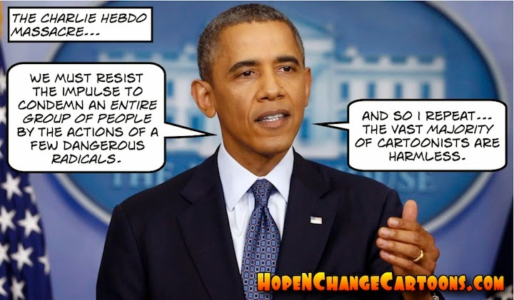 obama, obama jokes, political, humor, cartoon, conservative, hope n' change, hope and change, stilton jarlsberg, charlie hebdo, terror, Islam, Paris