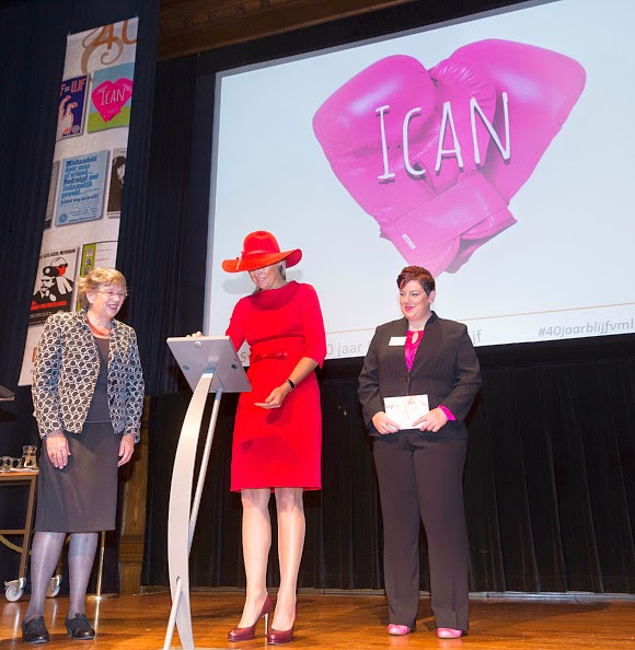 Aleid van den Brink, Queen Maxima of The Netherlands and Petra van der Pool-Duyzer attend the launching ceremony of the Ican App during a symposium, marking 40 years of the protection of women against domestic violence