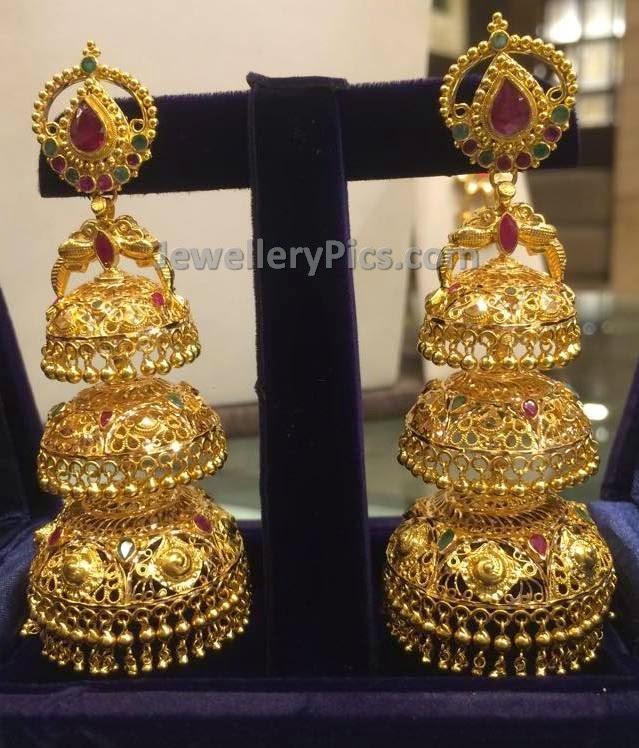 Three Step Gold Jumki Latest Jewellery Designs