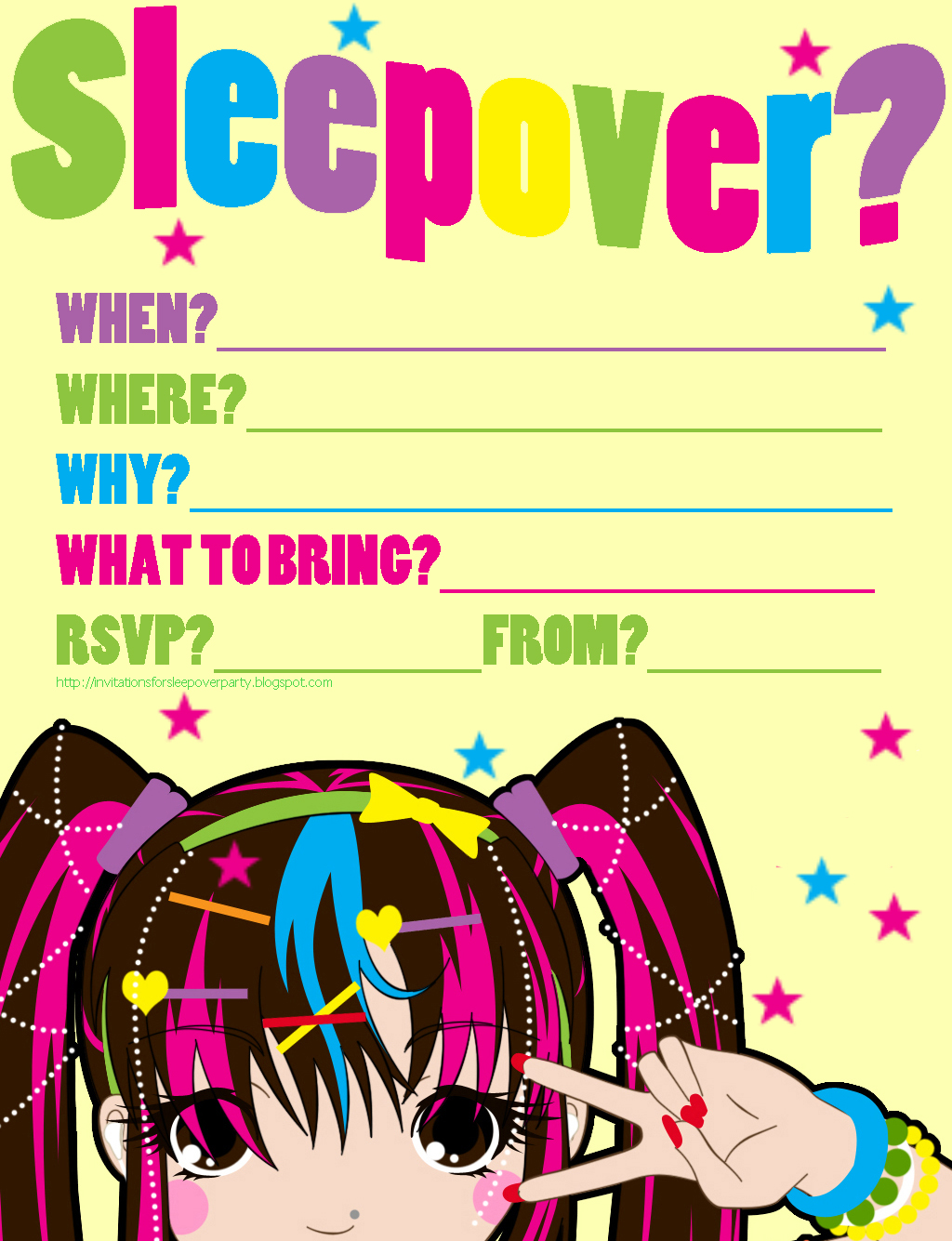 Harajuku Japanese style sleepover invitation for teens - this is cute ...