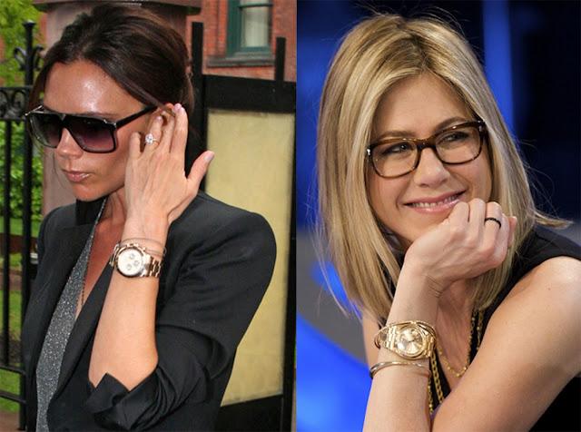 Fotos de Victoria Beckham y Jennifer Aniston con relojes dorados
