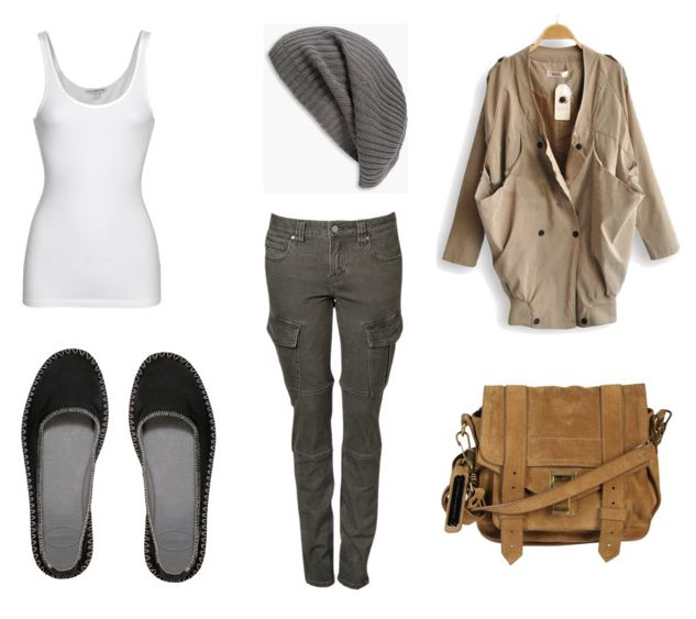 Summer to Fall transition outfit compilation, Havaiana Origine Ballerina Espadrille, Poenza Schouler satchel, tank top, cargo pants, slouchy beanie, military overcoat, style, fashion, Polyvore