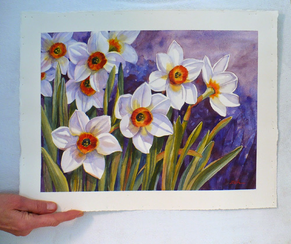 Narcissus Flowers watercolor unframed