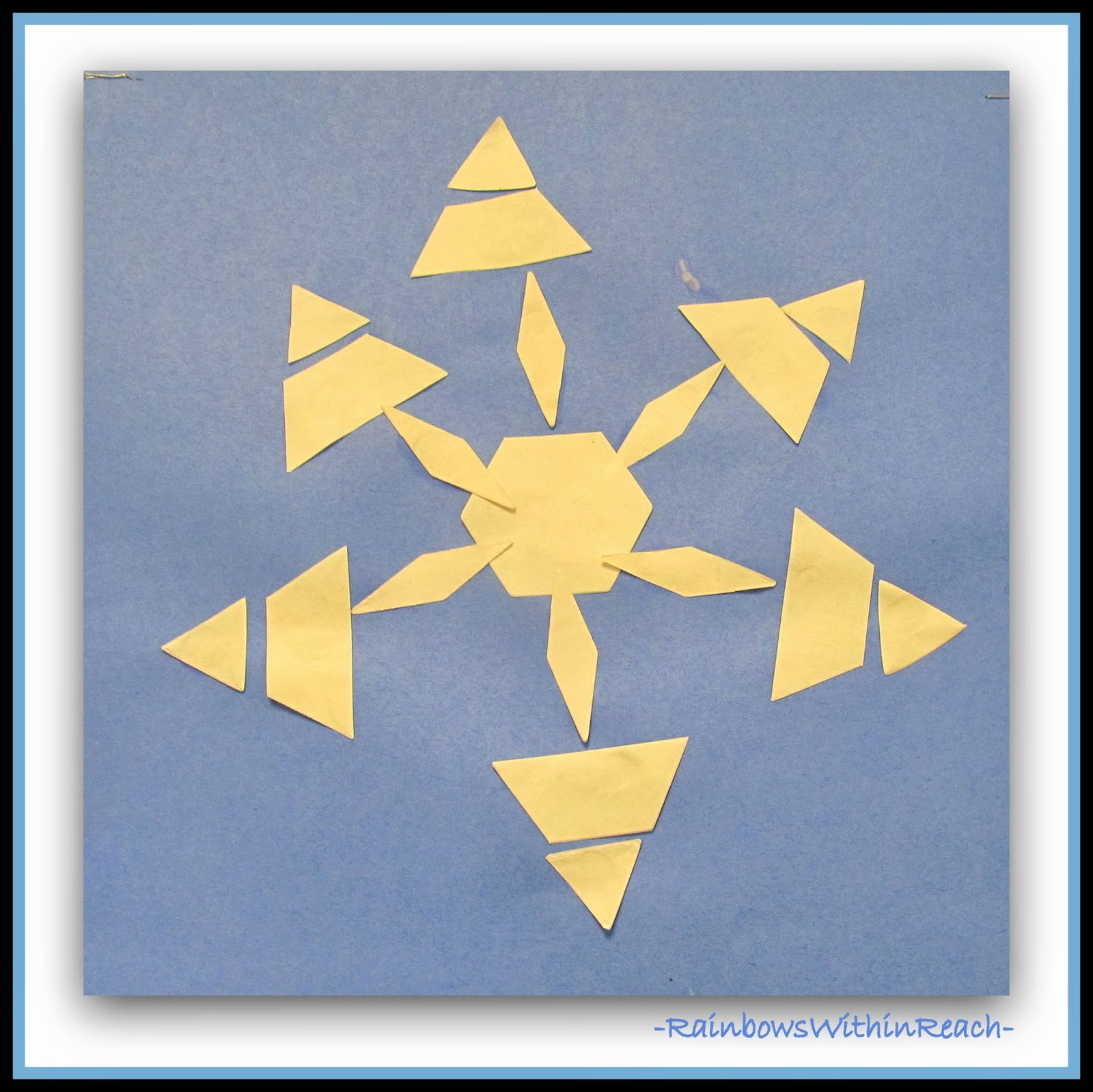 Using Pattern Shaped Pieces to Create Symmetric Snowflakes in Kindergarten via RainbowsWithinReach