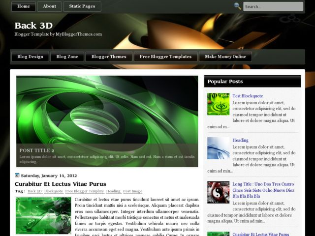 Back 3D Blogger Template
